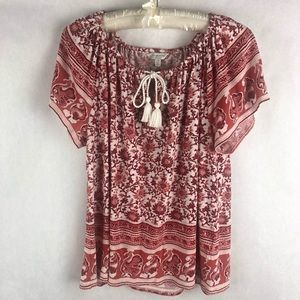 Lucky Brand Peasant Style Short Sleeve Blouse L